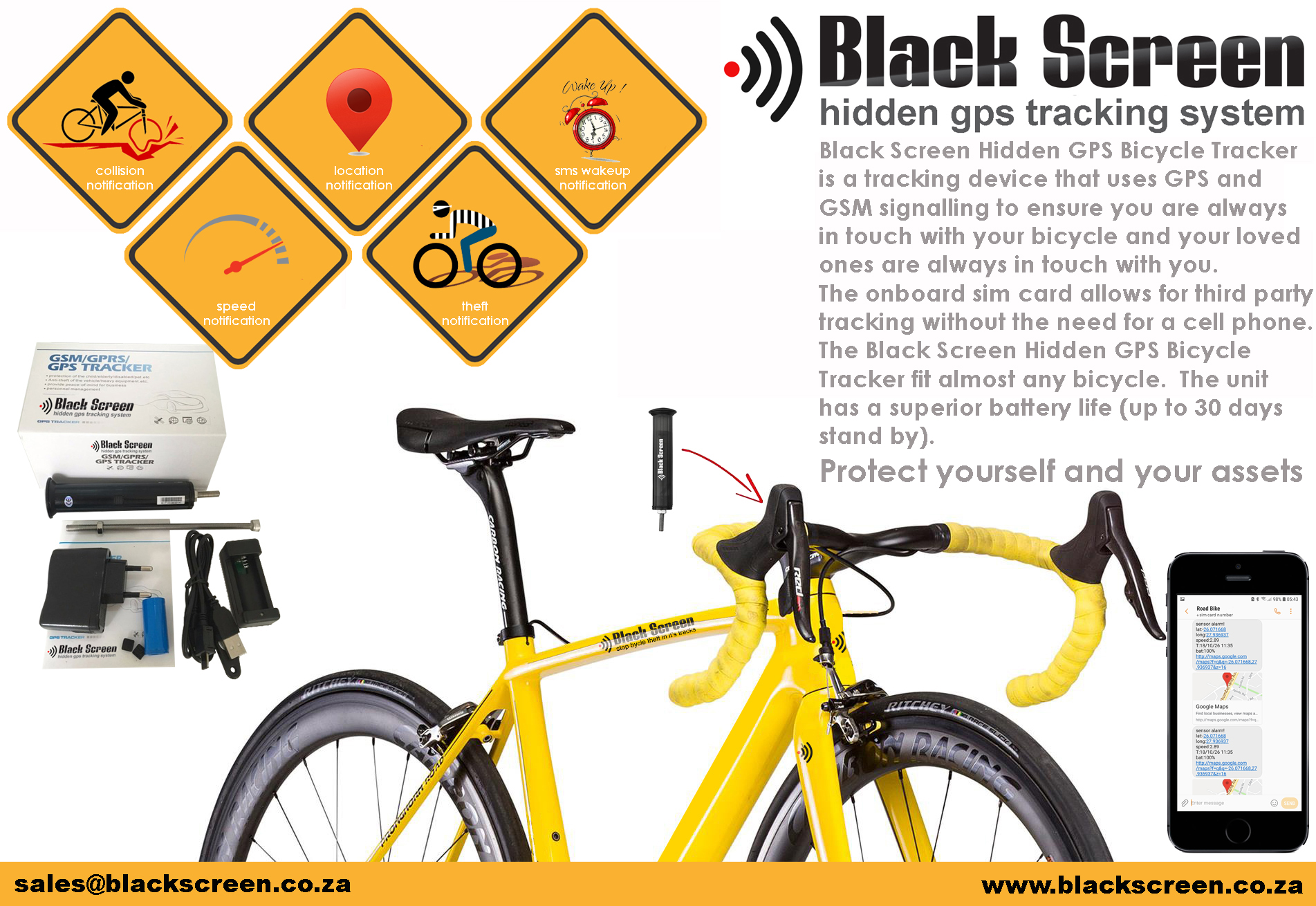 Black Screen Hidden GPS Bicycle Tracker